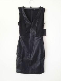 NWT ZARA COMBINATION V-NECK TUBE DRESS Black SIZE S