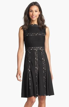 Tadashi Shoji Lace Inset Jersey Fit & Flare Dress (Regular & Petite) available at #Nordstrom
