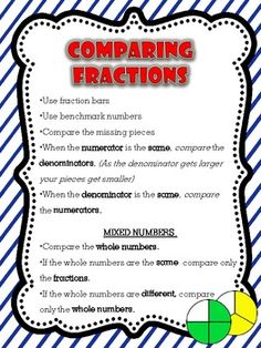 This FREEBIE anchor chart is fabulous for teaching your students different strategies to use when comparing fractions! Simply print, laminate, and . Teaching Fractions, Math Fractions, Teaching Math, Comparing Fractions, Teaching Activities, Teaching Ideas, Math Charts, Math Anchor Charts, Math Teacher