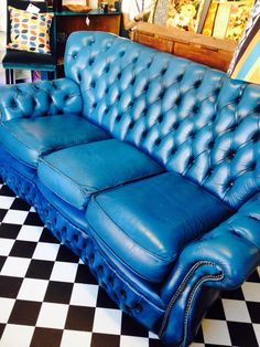 SALE Antique Chesterfield Sofa. Bright blue Genuine Leather Sofa. 3 seater. Mid…