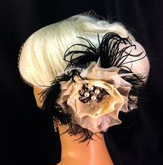 Veil+and+Fascinator+Set+Deep+Ivory+Bridal+Flower+by+IceGreenEyes,+$85.00