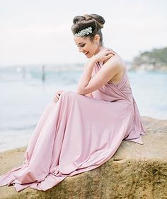 Beautiful boho bridesmaid in our @goddessbynature signature multiway ballgown in our best selling dust me pink colour 💖 Stockist @whiterunway  www.goddessbynature.com