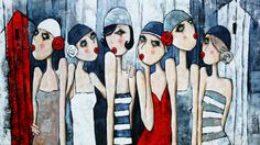 Virginie Matz - Deauville – 200x100cm Wal Art, Painting People, Human Art, Naive Art, Whimsical Art, Art Pictures, Female Art, Art Girl, Illustration