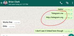 #Whatsapp is blocking #Telegram links on #Android for some reason http://tnw.me/3wrXSHx