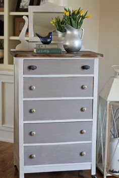 Vintage gentleman's dresser painted in a custom mix of Annie Sloan's shades of gray.