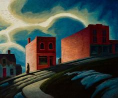 """Reminds me of anything by Sinclair Ross, even though it's on hill. """"Ontario Hill Town,"""" Lawren Stewart Harris, oil on canvas, 33 x 40 University of Toronto Art Collection. Canadian Painters, Canadian Artists, Ontario, Group Of Seven Paintings, Vancouver, Tom Thomson, Canada, National Art, University Of Toronto"""