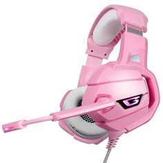 LED Gaming Headphones Headset With Mic Microphone For PC Pink warrior Gamer
