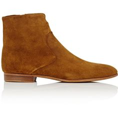 Alumnae Women's Notched-Detail Suede Ankle Boots ($750) ❤ liked on Polyvore featuring shoes, boots, ankle booties, short suede boots, ankle boots, low heel ankle boots, low heel boots and short heel booties