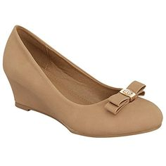 Top Moda ALOE-15 Women's Basic Bow Tie Platform Wedge Pumps, Color:TAN, Size:7.5 - http://all-shoes-online.com/top-moda/7-5-b-m-us-top-moda-aloe-15-womens-basic-bow-tie-wedge-2