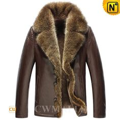 CWMALLS Brown Shearling Jacket with Fur Trim CW855282 Luxurious fur trim shearling jacket surrounds you in supple warm lamb fur shearling lining and drapes you in a luxurious collar of raccoon fur. Brown shearling leather jacket with slit side pockets and front button closure complete this unusual design. www.cwmalls.com PayPal Available (Price: $1435.89) Email:sales@cwmalls.com