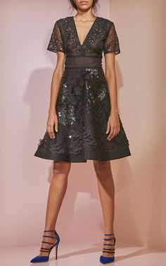 Paillette Embroidered V Neck Flared Dress by PRABAL GURUNG for Preorder on Moda Operandi