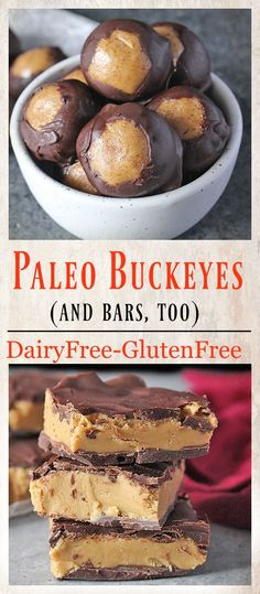 Paleo - Healthy Paleo Buckeyes- gluten free, dairy free, no bake, and so delicious. The classic treat, made over! It's The Best Selling Book For Getting Started With Paleo Paleo Dessert, Gluten Free Desserts, Healthy Desserts, Dessert Recipes, Diet Desserts, Homemade Desserts, Healthy Drinks, Healthy Tips, Dairy Free Appetizers