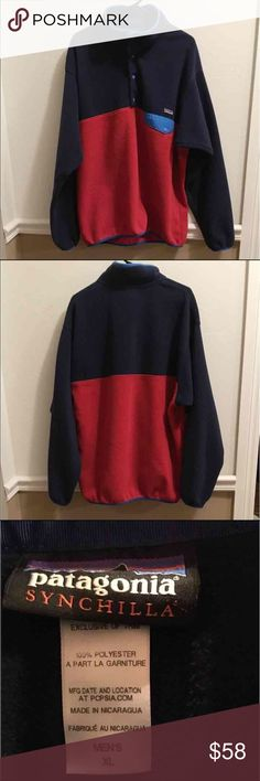 Patagonia synchilla This signature Patagonia pullover is in good condition without stains, rips or holes. Great transition piece from winter to spring! Such a classic! Patagonia Jackets & Coats
