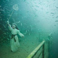 Dos mundos náufragos, dois navios afundados. Duas séries fotográficas produzidas e exibidas debaixo d'água.