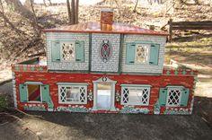 Vintage 1950s T. Cohn Dollhouse Tin Metal Litho Two Patio Doll House. $80.00, via Etsy.