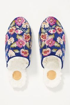 Sage Floral Slippers | Anthropologie Sage, Faux Fur, Anthropologie, Christmas Gifts, Cozy, Pajama, Fashion, Moda, Salvia