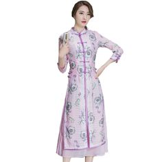 bafa8e3f6 US $38.99 |Aliexpress.com : Buy 2017 Fake Two Pieces Women Chinese Style  Improved Cheongsam Loose Cotton Linen Three Quarter Sleeve Print Slim Long  Dress ...