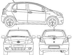2006 Toyota Yaris II 5-door Hatchback blueprint