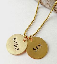 Custom Name Stamped Brass Necklace