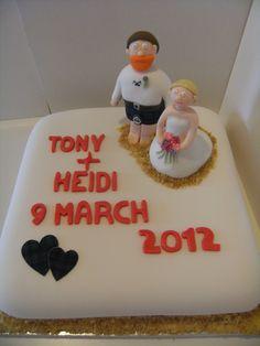 Heidi and Tony Wedding Cake Bear Cakes, Wedding Cakes, Desserts, Food, Wedding Gown Cakes, Tailgate Desserts, Deserts, Essen, Cake Wedding