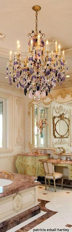 purple crystal chandelier .