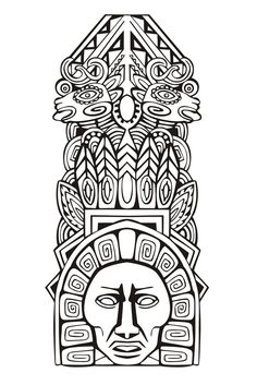 Free coloring page coloring-adult-totem-inspiration-inca-mayan-aztec-5. Totem inspired by Aztecs, Mayans and Incas - 5 (Source : rocich / 123RF)