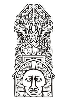 Galerie de coloriages gratuits coloriage-adulte-totem-inspiration-inca-maya-azteque-5. Plus