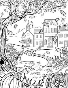 Together: Why Colouring Is Great For Kids And Adults A fall colouring sheet for adults. Davlin Publishing Davlin PublishingA fall colouring sheet for adults. Fall Coloring Sheets, Colouring Sheets For Adults, Fall Coloring Pages, Halloween Coloring Pages, Coloring Pages To Print, Free Printable Coloring Pages, Adult Coloring Pages, Coloring Pages For Kids, Coloring Books