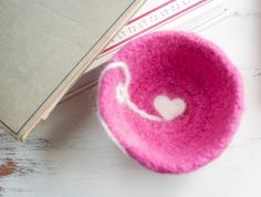 Bowl small felted wool pink with white heart by crotchetymama, $25.00