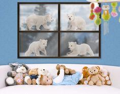 Fensterfolie - Fenstersticker No.642 Eisbären-Brüder - Fensterbilder