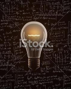 Light bulb isolated on mathematics formula backgrounds