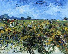 """post-impress-art: """" The Green Vinyard, 1888, Vincent van Gogh Size: 92x72 cm Medium: oil on canvas"""""""