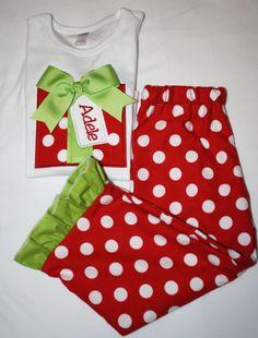 Monogrammed Girls Christmas Pajamas on Etsy, $40.00