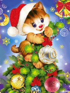 FETE : NOEL belles images Merry Christmas Gif, Christmas Kitten, Christmas Scenes, Merry Christmas And Happy New Year, Christmas Holidays, Vintage Christmas Images, Whimsical Christmas, Gif Fete, Images Noêl Vintages