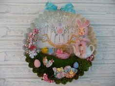 Whimsical OOAK Vintage Easter Bunny Tea Break Wreath by chickitout, $65.00
