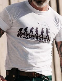 96c42a8b Shows the evolution of man into a fisherman with this Funny Fishing T-Shirt.