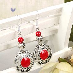 Fashion Jewelry Wholesale Vintage Tibetan Silver Multicolor Carving Long Section Round Beads Women Earring Stud E3141
