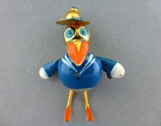 Vintage 1940's Puffed Figural Donald Duck Sailor Whimsy Pin Enamel Metal Spain