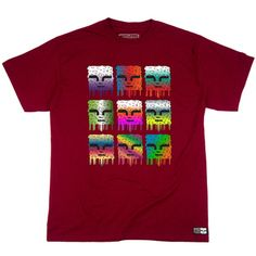 This is a picture of a mens maroon 5.5 ounce, 100% ring spun cotton Mind Plugs graphic t shirt with nine Mind Plugs faces on the front center. The faces feature a full spectrum of bright colors.