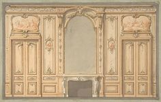 Jules-Edmond-Charles Lachaise | Design for wall panels, mirror, and fire mantle | The Met
