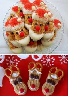 Nutter Butter Santa Cookies- DIY Ideas For Christmas Treats Christmas Snacks, Xmas Food, Christmas Cooking, Christmas Goodies, Holiday Recipes, Christmas Holidays, Christmas Baking For Kids, Christmas Treats For Gifts, Gourmet