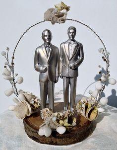 Gay Wedding Cake Topper. Same Sex Wedding Keepsake by HeSaidYes, $200.00