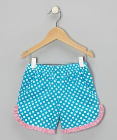 Loving this Turquoise Polka Dot Ruffle Shorts - Infant & Toddler on #zulily! #zulilyfinds