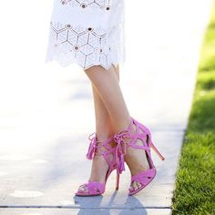 White Eyelet Lace Midi Skirt, Bright Pink Lace Up Heels with Tassels // via rachparcell