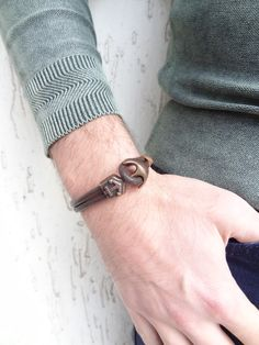 Excited to share the latest addition to my #etsy shop: Men Bracelets For Men, Fashion Bracelets, Leather Bracelets, Men's Jewelry, Antique Jewelry, Handmade Jewelry, Leather Men, Brown Leather, Fashion Shops
