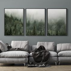 Set of three black and white misty forest wall art prints, Set of 3 forest landscape wall art, 3 piece forest art prints