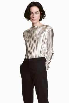 Pleated top - Silver - | H&M GB 1