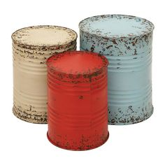 Round End Tables, End Table Sets, Side Tables, Small Tables, Metal Accent Table, Metal Tables, Accent Tables, Metal Drum, Tin Can Crafts