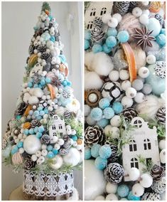 ©Charmé / paper flowers Christmas Topiary, Cone Christmas Trees, Christmas Tree With Gifts, Xmas Tree, Christmas Tree Ornaments, Christmas Holidays, Christmas Wreaths, Christmas Crafts, Holiday Fun
