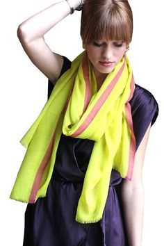 Women's Hailey Poppy Yellow Scarf Red Selvedge Lightweight Shawl at Amazon Women's Clothing store: Fashion Scarves